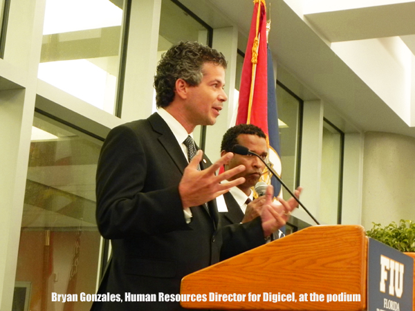 Digicel's Bryan Gonzales speaks at the Green Library, FIU